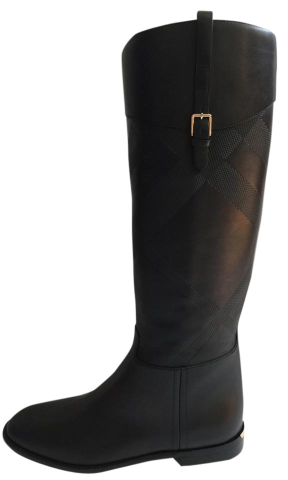 Burberry Embossed Black New Heritage Copse Embossed Burberry Check Leather Riding Boots/Booties fd40e5