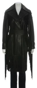 Tom Ford Black Fringe Leather Tf.eh0917.04 Coat