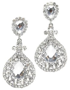 Glam Rhinestone Crystal Teardrop Accent Chandelier Drop Dangle Clipon Earrings