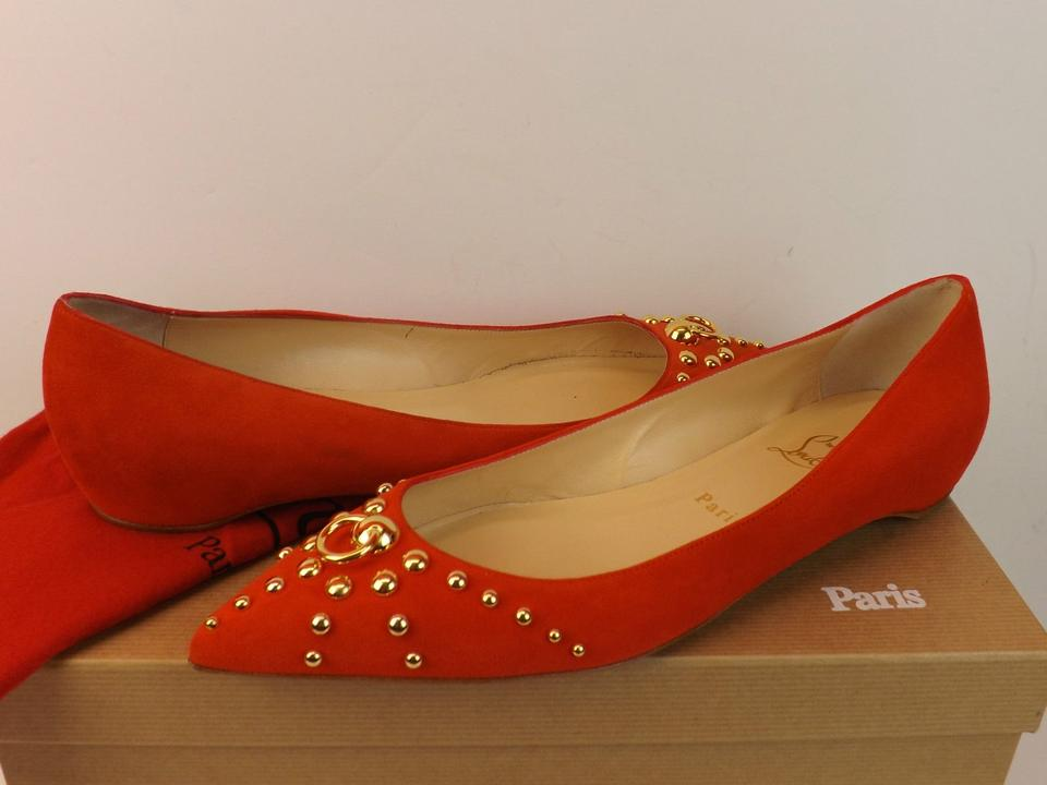 mens red spiked louboutins - Christian Louboutin Red/Gold Nib Louboutin Door Knock Red Suede ...