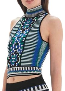 Torn by Ronny Kobo Jacquard Knit Halter Print Top