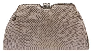Judith Leiber Leather Evening Crystal Grey Clutch