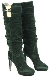 Sergio Rossi Suede Leather Bottle Green Boots