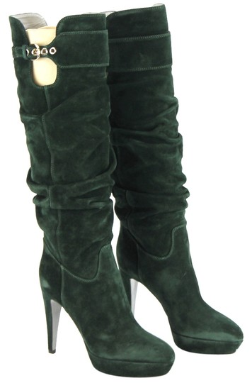 Sergio Rossi Suede Leather Bottle Green Boots Image 0