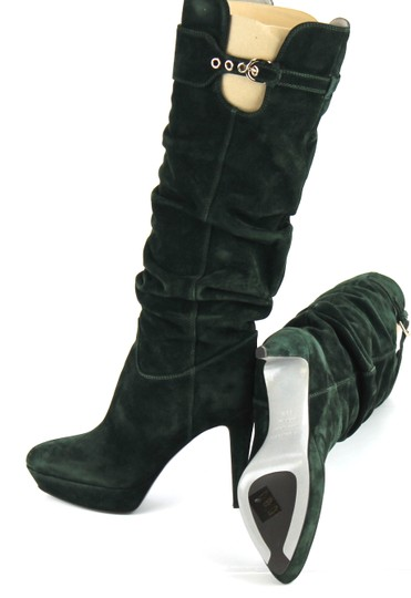Sergio Rossi Suede Leather Bottle Green Boots Image 3