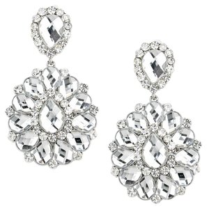 Rhinestone Crystal Silver Rhodium Flower Leaf Design Chandelier Drop Dangle Clipon Earrings