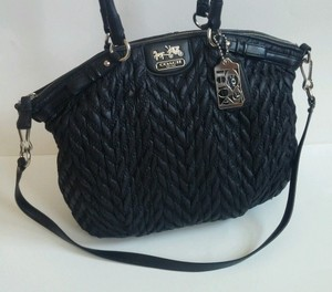 Coach Black18634 18634 Chevron Quitled Shoulder 70th Anniversary Lindsey  Madison Madison Lindsey Satchel in Black 71a6a87693bf9