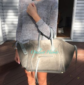 Céline Celine Phantom Suede Tote in Green