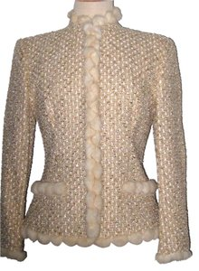Escada Cream Tweed with Mink Blazer