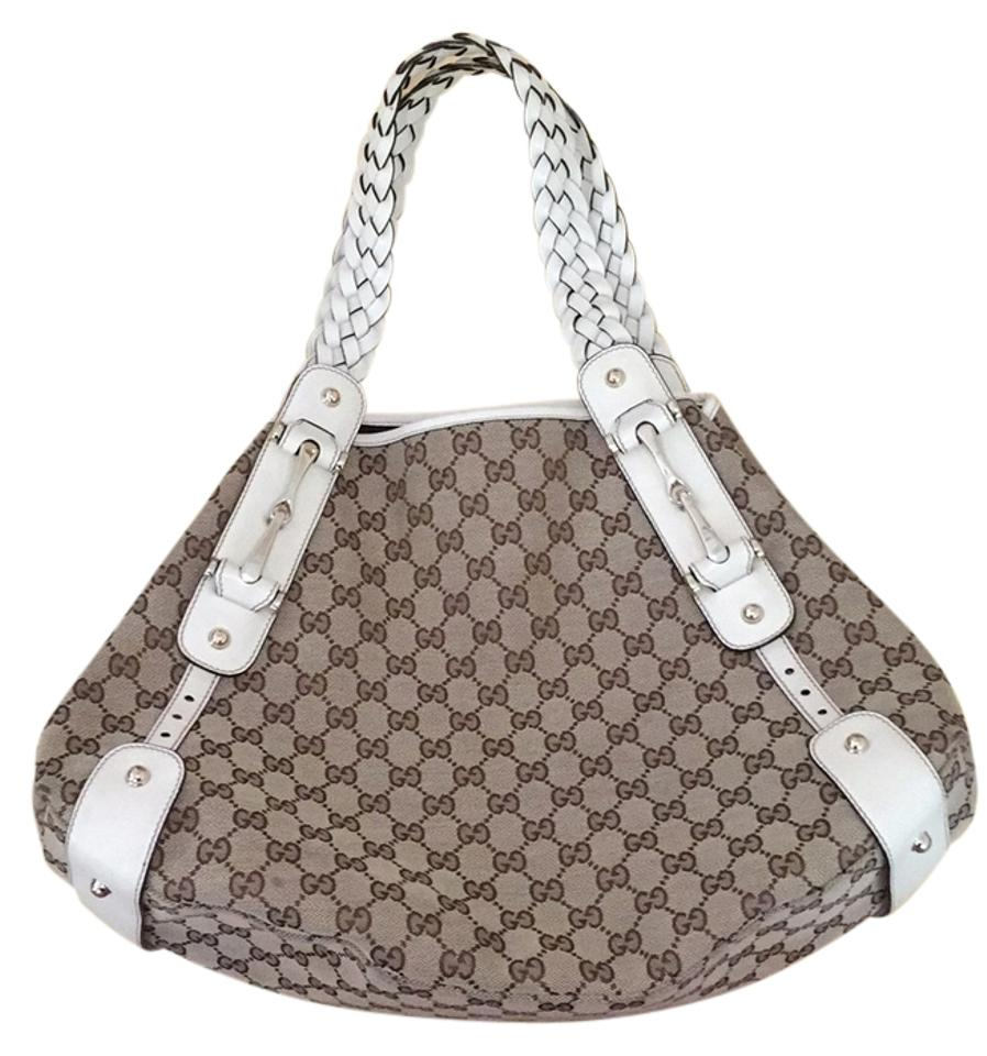 bf23ebb66249 Gucci Tote Pelham Monogram Braided Handles In Bone White Medium Tan ...
