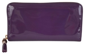 Gucci New Gucci 224253 Purple Patent Leather Zip Tassel Bamboo Pull Clutch Wallet