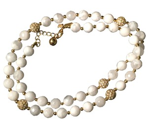 Kate Spade White Faceted and Crystal Pave Beaded Necklace