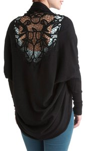 BCBGMAXAZRIA Crochet Sweater Knit Cocoon Draped Cardigan