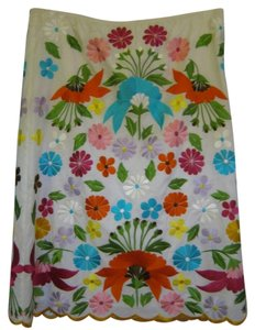 Escada Skirt White & Flowers embroidery