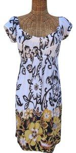 Boston Proper short dress white/yellow/brown/black Floral Slip On Comfortable on Tradesy