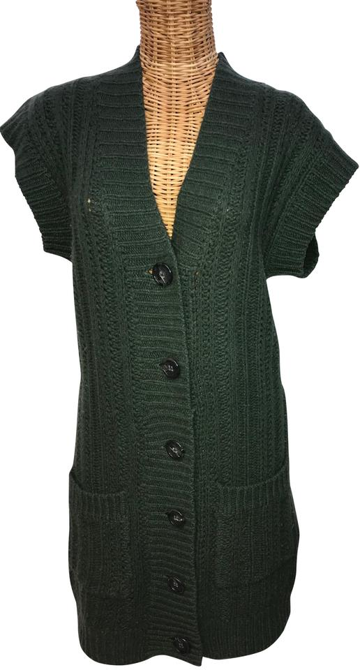 Twelfth St By Cynthia Vincent Dark Green Cable Knit V Neck Sweater
