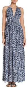 Blue Maxi Dress by Meghan LA Halter Strappy Allover Print Beach Maxi