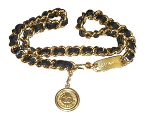 Chanel Chanel Medallion Belt Black Leather and Gold Chain