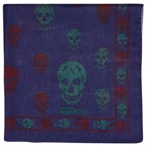 Alexander McQueen Alexander Mcqueen Navy Bicolor Skull Silk Scarf New With Tags