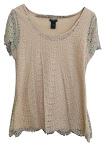 Ann Taylor Lace Scalloped T Shirt Pink