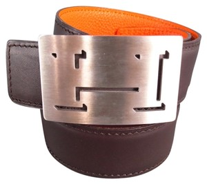 Hermès HERMES Brown & Orange Two Tone Leather Reversable Silver H Buckle Belt