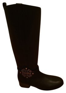 Tory Burch Amanda Riding Leather Gold Hardware Black Boots