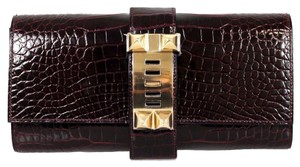 Hermès Shiny Porosus Crocodile 2015 Gold Hardware 23 Cm Medor Borduex Clutch