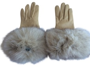Alexandra Bartlett Leather Cashmere Lined Fox Fur Gloves