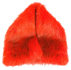 Sportmax SPORTMAX Orange Beaver Fur Snap Collar