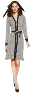 Michael Kors Houndstooth Longsleeve Zipper Front Belted Dress