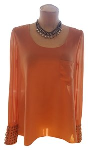 Double Zero Studded Hi Lo Sheer Top Pink