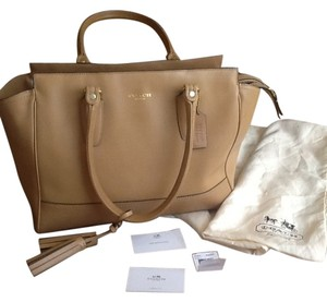 Coach Legacy Tote Leather Satchel in Sand