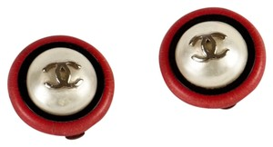 Chanel Chanel Glass Pearl & Red and Black Enamel Earrings