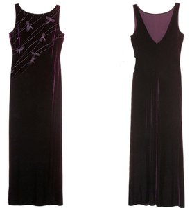 Niki Livis New Without Tags Velour Stretch Velvet Bodycon Long Gown Sleeveless Low Back Maxi Pink Beaded Dragonfly Dragonflies On Dress