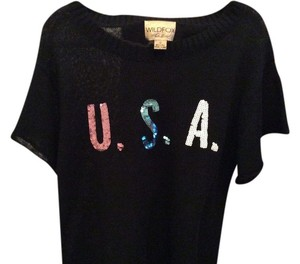 Wildfox Short Sleeve Usa Logo Oversized Sequins Sequin Logo Olympics Sweater