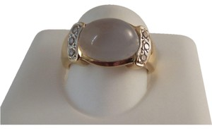 Modern Vintage REDUCED Large 14K Moonstone Diamond Ring