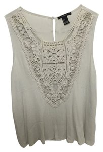 Forever 21 Crochet Lace Champagne Festival Vacation Top Grey