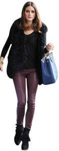 Current/Elliott Leather Jeans Merlot Skinny Pants Burgundy
