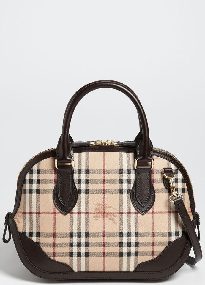 Burberry Small Orchard Leather Bowling Black Satchel In Brown