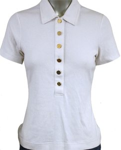 Tory Burch T Shirt Polo Short Sleeve Shirt with gold buttons