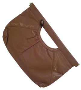 Other Leather Vine Stitching Taupe Clutch