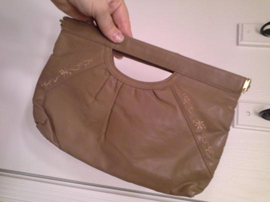 Other Leather Vine Stitching Taupe Clutch Image 1