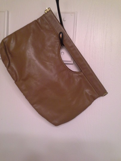 Other Leather Vine Stitching Taupe Clutch Image 2