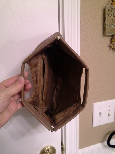 Other Leather Vine Stitching Taupe Clutch Image 3