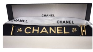 Chanel ULTRA RARE CHANEL '98P BLACK LEATHER GOLD PLATED BRACELET
