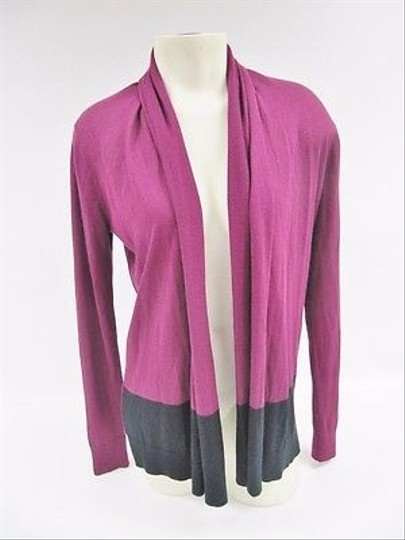 DKNY Womens Dkny Purple Black Colorblock Open Front Cardigan Sweater 60%OFF
