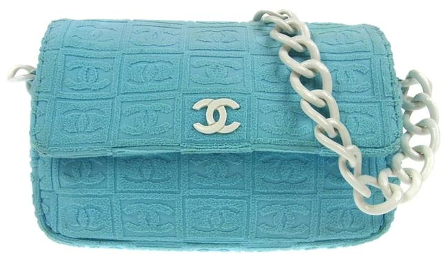 Item - Shoulder Bag Plastic Chain Cotton Blue White Cc Logos Italy Rk00654 Green Leather Clutch