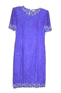 Adrianna Papell Blue Silk Formal Bridesmaid/Mob Dress Size 6 (S)