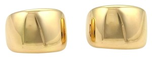 Cartier (15685M) Cartier High Polished Wide Semi Hoop Earrings Omege Back in 18k Yellow Gold