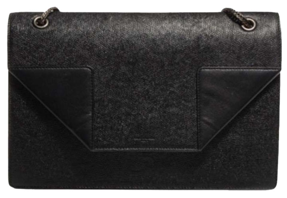 Saint Laurent Betty Medium Black Grained and Smooth Leather Shoulder ... 8836dde14695b